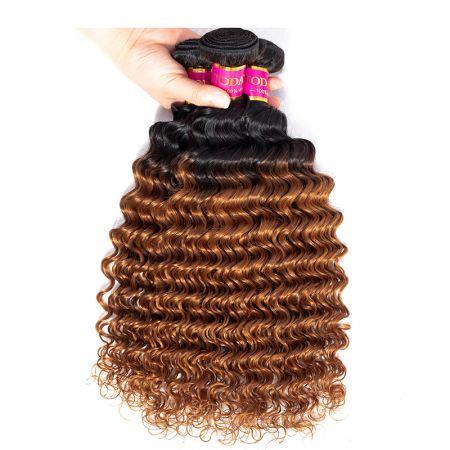 Today Only Hair Ombre 1B/30 Peruvian Virgin Hair Ombre Peruvian Deep Wave 4 Bundles Human Hair Weave
