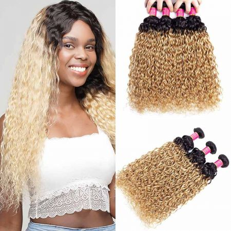 Today Only Hair 2 Tone Ombre Brazilian Water Wave Hair 1B/27 100% Human Hair Weave 3 Bundles