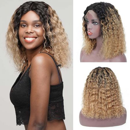 Todayonly Hair Brazilian 1B/27 Ombre Color Short Curly Lace Front Human Hair Bob Wigs With Baby Hair
