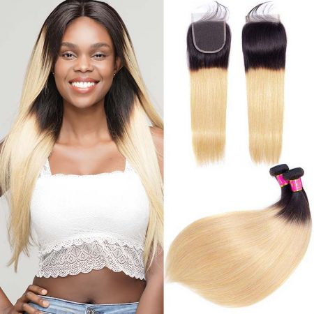 Today Only Hair 1b/27 Ombre Brazilian Straight Hair 3 Bundles With Closure Human Virgin Hair Weave Bundles