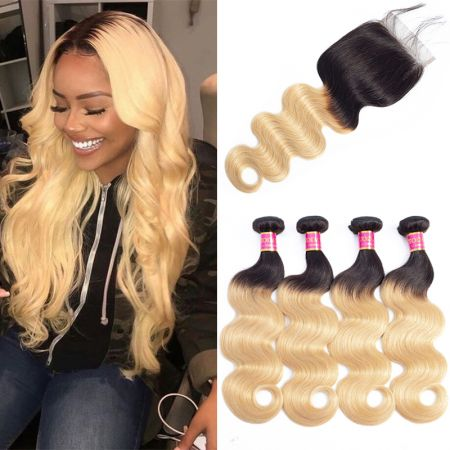 Today Only Hair Ombre Peruvian Body Wave Hair 4 Bundles With Closure 1b/27 Human Virgin Hair Weave Bundles