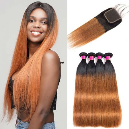 Today Only Hair Ombre 1b/30 Peruvian Virgin Straight Hair 4 Bundles With Closure Ombre Straight With Baby Hair Closure