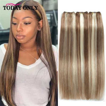 Straight Hair Brazilian Hair Weave Bundles Ombre Brown Honey Blonde Burgundy Highlight Remy