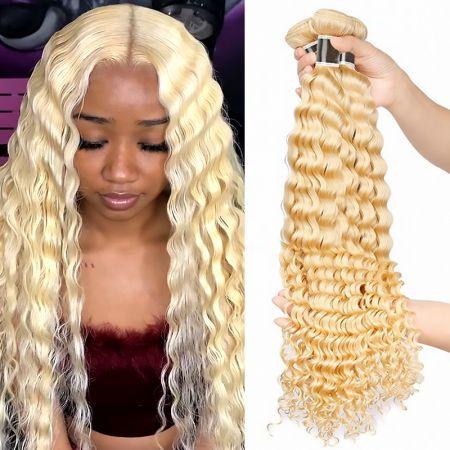 613 Deep Wave Human Hair Bundles Weave 3 Bundles Blonde Virgin 100% Human Hair Extensions