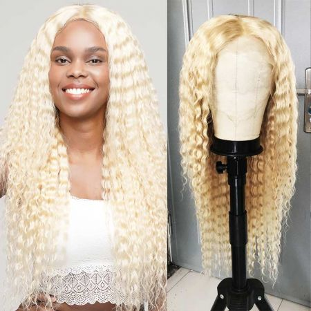 """613 Blonde Brazilian Deep Wave Transparent Lace Frontal Wigs Pre Plucked 8""""-22""""Inch"""