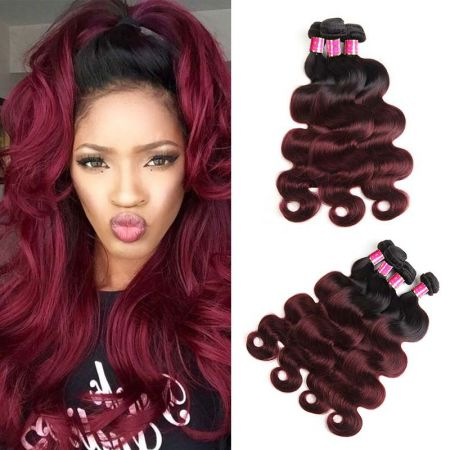 Today Only Hair 1B/99j Brazilian Body Wave Hair 4 Bundles Brazilian Virgin Human Hair Extensions