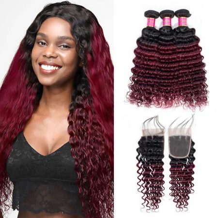 Today Only Hair Ombre Brazilian Virgin Hair Deep Wave 3 Bundles With Closure 1b/99j Deep Wave With Closure