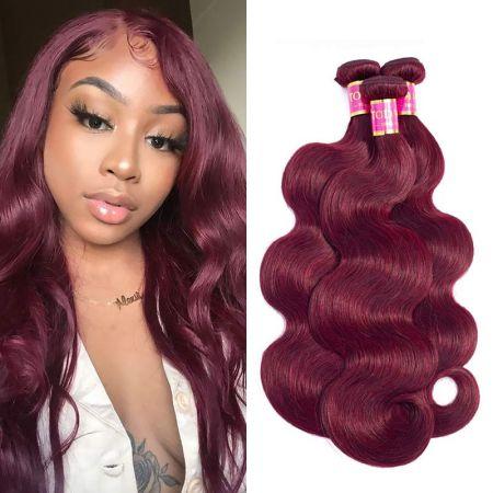 Today Only Hair Burgundy Brazilian Body Wave 3 Bundles Virgin Hair 99j Brazilian Hair Weave Bundles