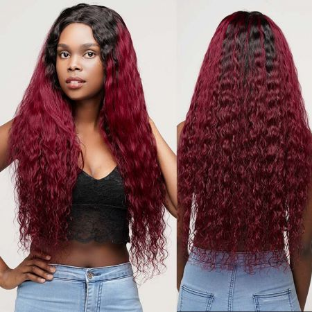 Todayonly Hair Brazilian Kinky Curly 150 Density Ombre Swiss HD Lace Front Wig Pre Plucked 13x4 Remy Hair Glueless 1B#99J color