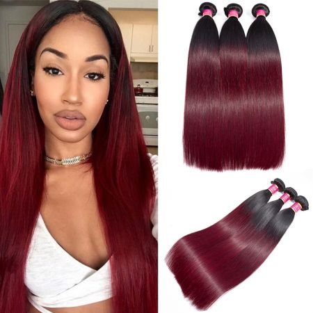 Today Only Hair Ombre Brazilian Straight Hair Bundles 1B/99j Virgin Human Hair Weave 3 Pieces Can Mix Any Length