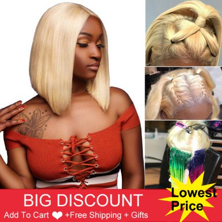 Today Only 613 Lace Front Human Hair Wigs Honey Blonde Bob Straight Lace Frontal Wig Pre Plucked With Baby Hair