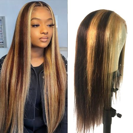 Todayonly Hair #4/27 High Density Straight Lace Front Human Hair Wigs 13*4 Virgin Peruvian Hair