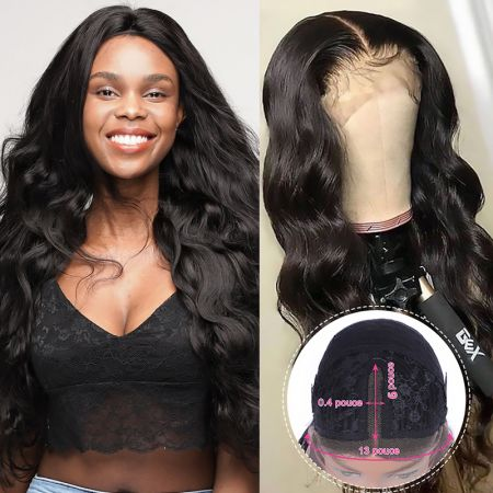 Todayonly Hair Body Wave Human Hair Lace Part Wig Middle Part Lace Wig PrePlucked