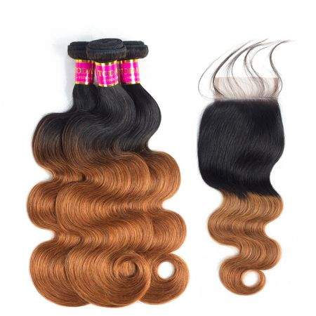 Today Only Hair Ombre 1B/30 Brazilian Body Wave Virgin Hair 4 Bundle Deals With Lace Closure