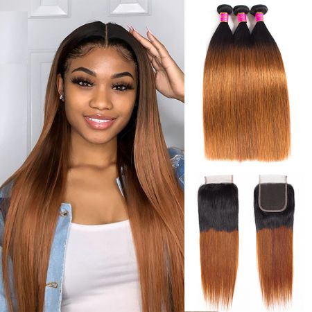Today Only Hair 1b/30 Ombre Peruvian Straight Hair 3 Bundles With Closure Human Virgin Hair Weave Bundles