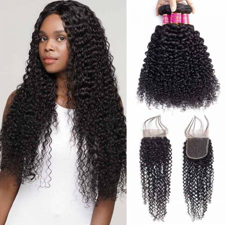 Today Only Hair Grade 10A Brazilian Virgin Hair Kinky Curly 4 Bundles With Closure Curly Brazilian Human Hair Weave
