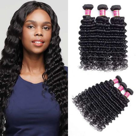 Today Only Hair Unprocessed Raw Indian Deep Wave 3 Bundle Deals Indian Virgin Hair Deep Wave Human Hair Bundles