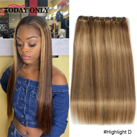 Straight Hair Ombre Colored Honey Blond Brown Highlight Brazilian Hair Weave 3Bundles #33 Remy