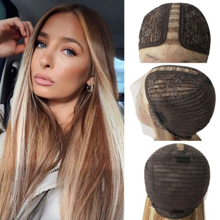 Todayonly Hair Highlight Long Straight  Human Hair Lace Part Wigs 13*6 Lace Wig Highlight Color
