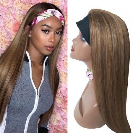 Todayonly Hair Headband Honey Blonde Highlight Straight 180% Density Virgin Hair Glueless Half Wig Headband Multicolor Random