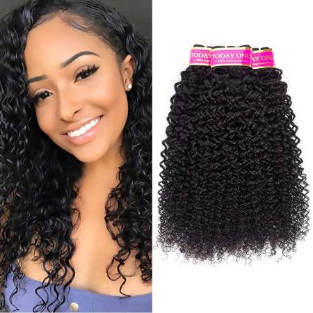 Today Only Hair Brazilian Kinky Curly Hair 3 Bundles Virgin Hair Weave Can Be Dyed