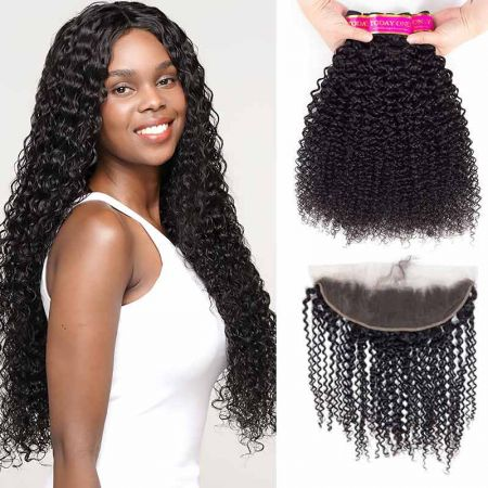Today Only Hair Unprocessed Brazilian Virgin Hair Kinky Curly 3 Bundles With Ear To Ear Lace Frontal