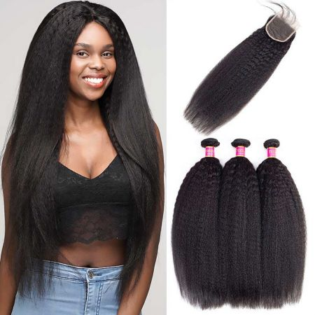 Today Only Hair Peruvian Virgin Hair Yaki Straight 4 Bundle Deals With Lace Closure Peruvian Human Hair Weave