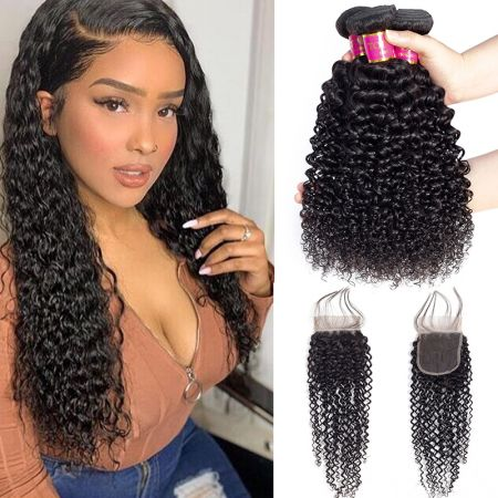Today Only Hair Unprocessed Curly 3 Bundles With Lace Closure Brazilian Virgin Hair Weave