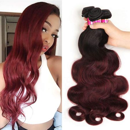 Today Only Hair Ombre 1B/99j Brazilian Body Wave Virgin Hair 3 Bundles With Lace Closure