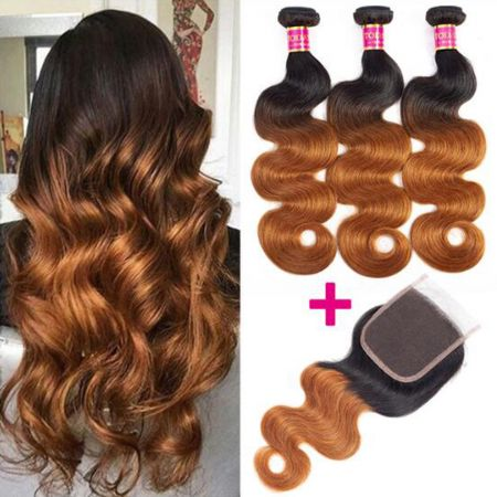 Today Only Hair 1B/30 Ombre Brazilian Body Wave Human Hair 3 Bundles With Lace Closure Virgin Hair With Closure