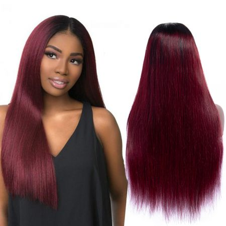 Today Only Hair 10A Ombre 1b/99j Peruvian Straight Lace Front Wigs Soft Straight Virgin Hair Wigs Lace Closure Wigs