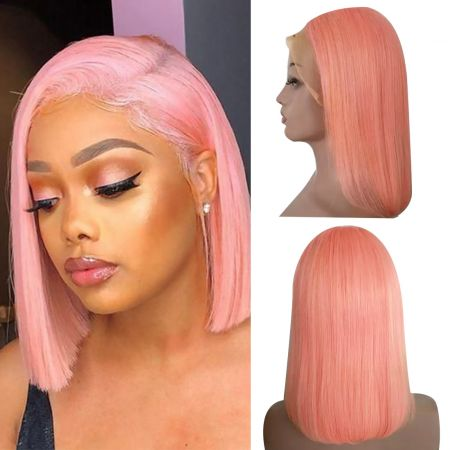 Today Only Hair Bob Virgin Straight Lace Frontal Wigs Blonde/Pink/Sky Blue/Yellow Short Human Hair Wigs Brazilian Virgin Hair Bob Wig with Pre Plucked Hairline with baby hairs