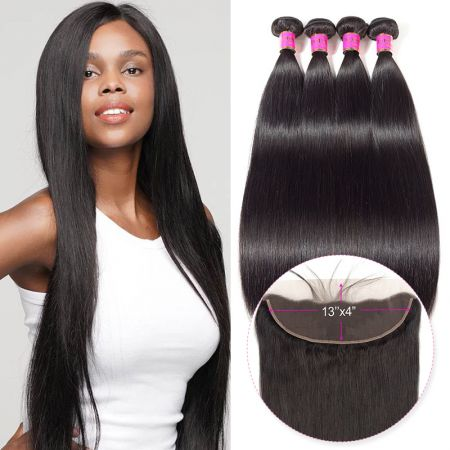 Today Only Hair Straight Hair 4 Bundle Deals With 13 * 4 Ear To Ear Lace Frontal Virgin Hair