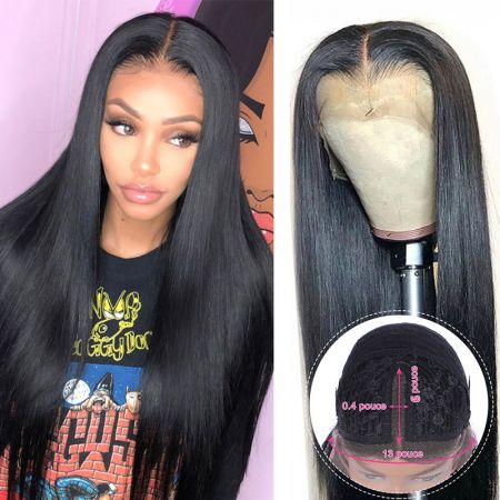 Todayonly Hair Long Straight  Human Hair Lace Part Wigs 13*6 Lace Wig Natural Color