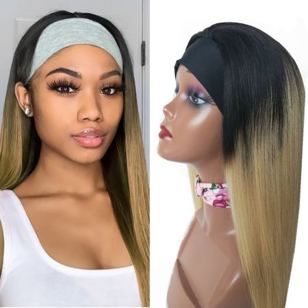 Todayonly Hair Headband T1B/27 Straight Virgin Hair Glueless Half Wig Headband Multicolor Random