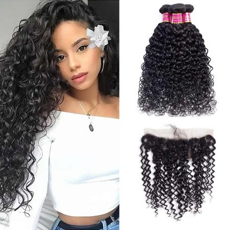 Today Only Hair Mink Brazilian Virgin Hair Water Wave With Frontal 3 Bundles Water Wave With Lace Frontal