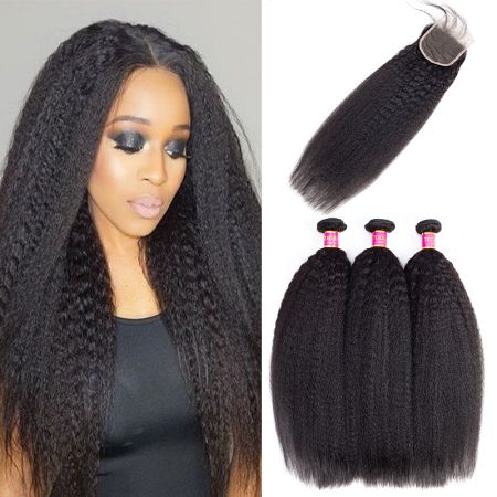 Today Only Hair Grade 10A Virgin Peruvian Kinky Straight Human Hair 3 Bundles With Lace Closure Peruvian Yaki Straight Weave With Closure