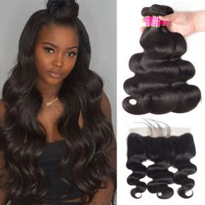 Today Only Hair Malaysian Virgin Body Wave Hair 3 Bundle Deals With 13 * 4 Lace Frontal