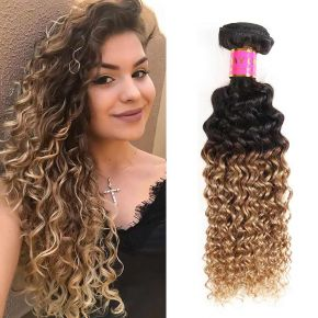 Today Only Hair Ombre Brazilian Kinky Curly Hair 1B/27 Human Virgin Hair Weave 4 Bundles