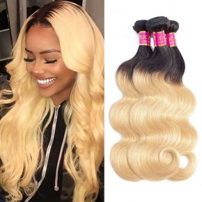 Today Only Hair Ombre Brazilian Hair Weave Body Wave 4 Bundles 1B/27 Human Hair Extensions