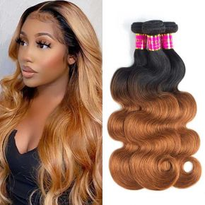 Today Only Hair Ombre Brazilian Hair Body Wave 5Bundles 1B/30