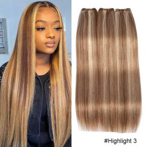 Straight Hair Bundles Brown Peruvian Human Hair 3 Bundles Honey Blonde Highlight Hair Color Extensions 8-26 Remy