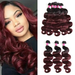Today Only Hair Ombre 1B/99j Virgin Human Hair Weave 5Bundles Body Wave Hair