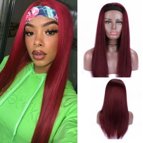 Todayonly Hair 99J color Straight Human Hair Headband Glueless Half Wig Headband Multicolor Random