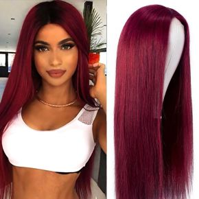 Today Only Hair 99j Color Lace Part Wig Human Hair Burgundy Color Lace Closure Long Straight Hair Wig