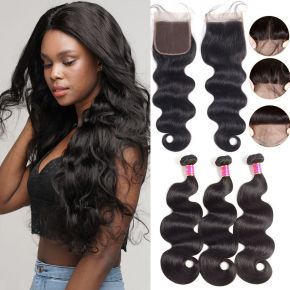 Today Only Hair Brazilian Body Wave Virgin Hair 3pcs With Lace Closure 100% Human Hair Weave With Closure