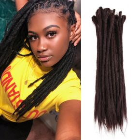 Today Only Hair #4 Dark Chocolate Color Handmade Synthetic Hair Locs Extensions Crochet Braids Dreadlocks
