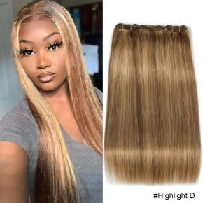 Mix Hair Color Straight Hair Bundles Brazilian Human Hair Weave Bundles Highlight Honey Blonde Brown Cuticle Aligned Hair Remy