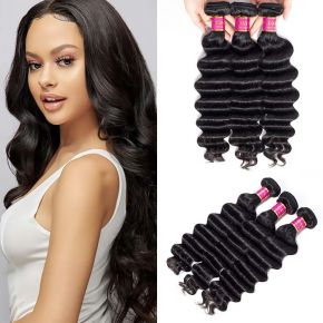 Today Only Hair Peruvian Loose Deep Hair 3 Pieces 100% Human Hair Weaving 10-26 Inch Natural Black Virgin Hair Extensions
