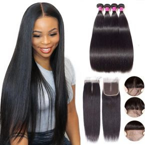 Today Only Hair Unprocessed Brazilian Virgin Straight Human Hair 4 Bundle Deals With 4*4 Lace Closure